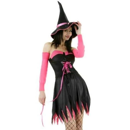 Sexy Fancy Dress And Halloween Costume Black And Pink Sexy Sorceress Dress & Hat Size 12-14