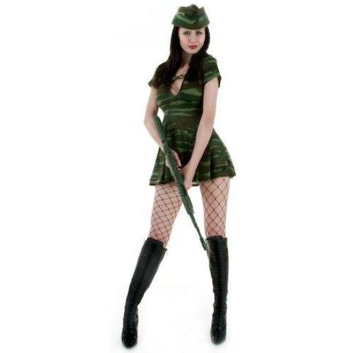 Sexy Fancy Dress Costume Sexy Army Girl Dress Hat & Belt Size 8-10