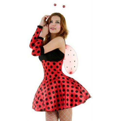 Sexy Fancy Dress Costume Lady Bug Dress Head Bopper Armlets & Wings Size 8-10