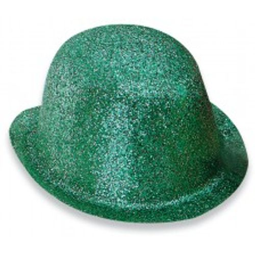Fancy Dress Green Derby Bowler Irish St. Patricks Day Glitter Bowler Hat