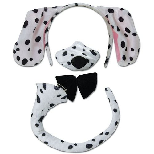 Dalmatian Set Ears On Headband Noisy Nose Bow Tie & Tail Animal Fancy Dress Accessory