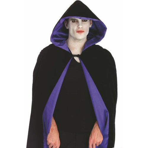 Velvet Hooded Mid Length Cloak Black With Purple Lining Fancy Dress & Halloween Costume Accessory
