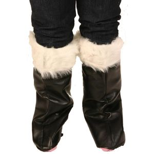 Black Boot Covers With Fake Fur Trim