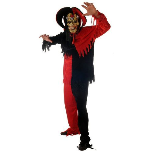 Fancy Dress And Halloween Costume Evil Jester Medieval Tunic Trousers Hat & Mask Size M-L