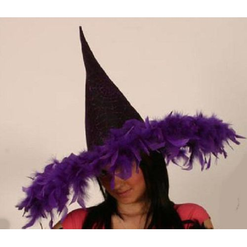 Fancy Dress And Halloween Purple Metallic Mesh Witch Hat With Feather Trim