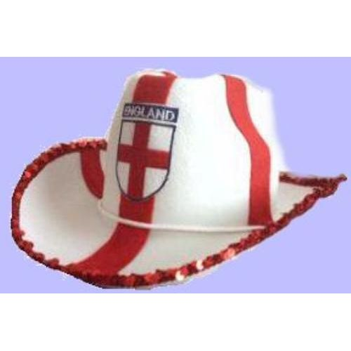 Fancy Dress England St George Cross Felt Cowboy Hat