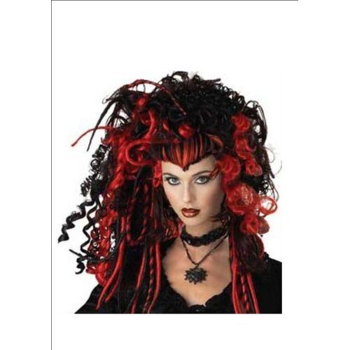 Black Widow  Black & Red Fancy Dress & Halloween Wig