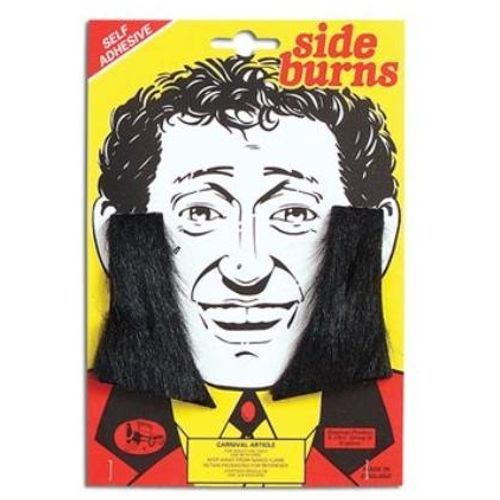 Black 70`s Style Sideburns Fancy Dress Accessory