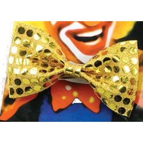 Sequin Bow Tie Gold fancy dress accessory