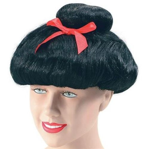Japanese Lady Deluxe Black Fancy Dress Wig With Red Ribbon
