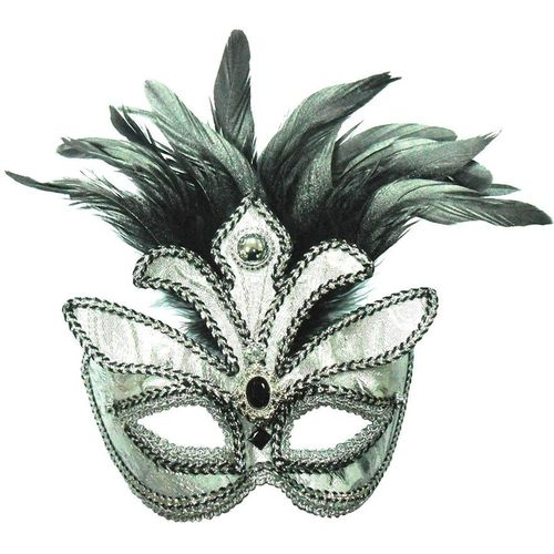 Masquerade Eye Mask Silver Braided & Jewelled With Black Feathers