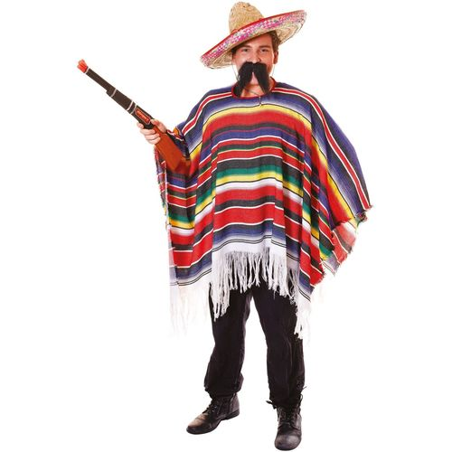 Mexican Poncho Multi Coloured Free Size Fancy Dress Accessory
