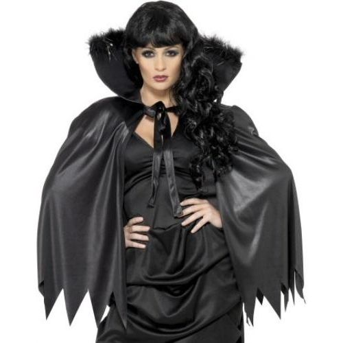 fancy dress and halloween costume asccessory black Cape With Stand Up Collar Marabou & Tinsel Trim