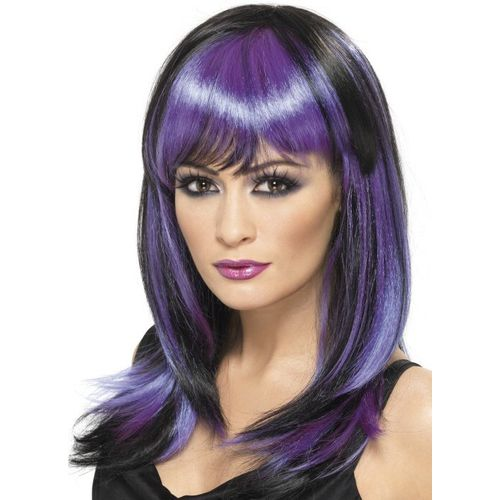 Glamour Witch Purple & Black fancy dress and halloween wig