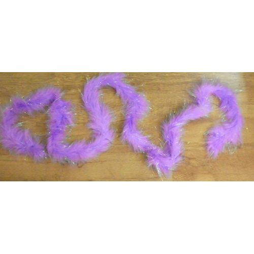 Lilac Marabou Feather Boa With Tinsel 180cm