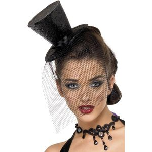 Mini Glitter Top Hat With Ribbon & Veil On H/Band (Blac