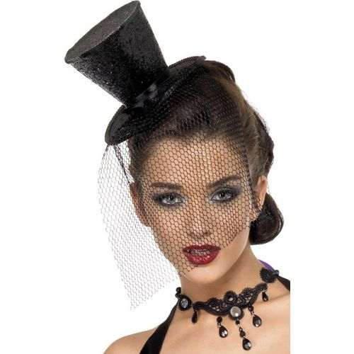 fancy dresand halloween black  Mini Glitter Top Hat With Ribbon & Veil On Headband