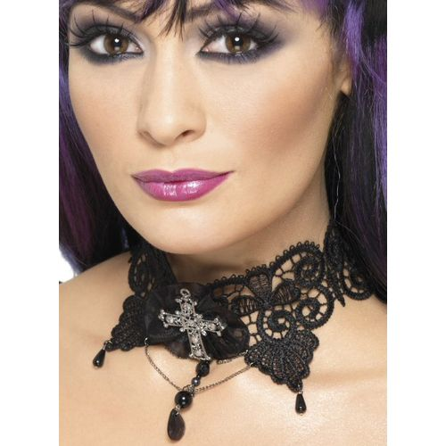 Lace Choker With Jewelled Cross & Ribbon & Bead Trim Fancy Dress and Halloween costume accessory