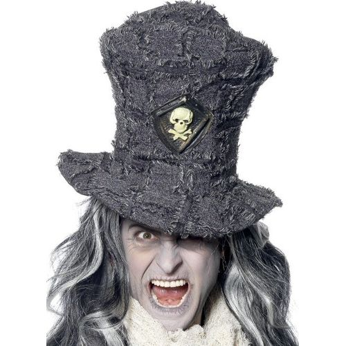Gothic Grave Digger Topper Charcoal Grey Hat Halloween Fancy Dress Accessory