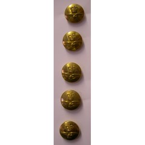 Brass Finish RAF Buttons Queens Crown 5 x 23mm