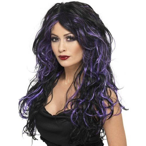 long wavy black and purple gothic bride fancy dress and halloween wig