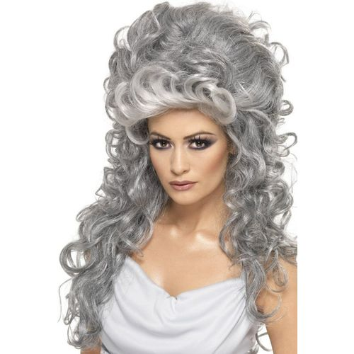 Medeia Long Curly Beehive  Grey fancy dress wig
