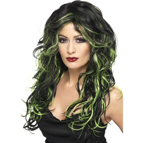Black & Green Gothic Bride Long Wavy Fancy Dress Halloween Wig