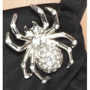 Spider Rhinestone Pin Brooch (Silver)