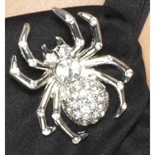 fancy dress and halloween costume accessory spider rhinestone silver pin brooch