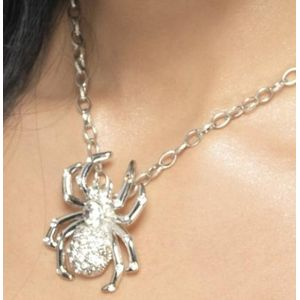 Spider Rhinestone Necklace (Silver)