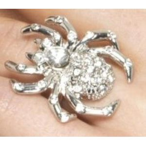 Spider Rhinestone Adjustable Ring (Silver)