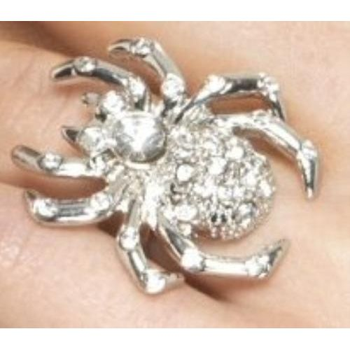 fancy dress and halloween costume accessory silver spider rhinestone adjustable ring