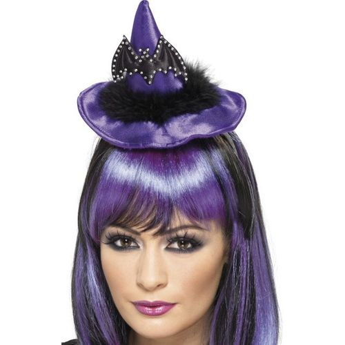 fancy dress and halloween witch hat on headband puple with bat decoration
