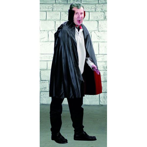 Fancy dress and halloween costume accessory reversible pvc cape black and red with stand up collar