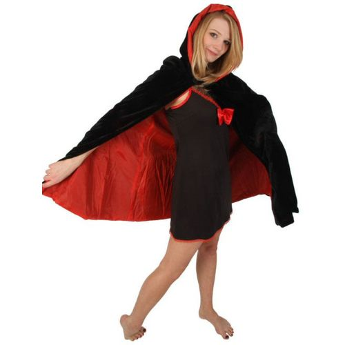 Velvet Hooded Mid Length Cloak Black With Red Lining Fancy Dress & Halloween Costume Accessory