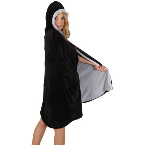 fVelvet Hooded Mid Length Cloak Black With White Lining Fancy Dress & Halloween Accessory