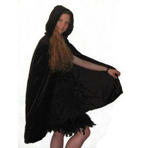 Velvet Hooded Mid Length Cloak Black With Black Lining