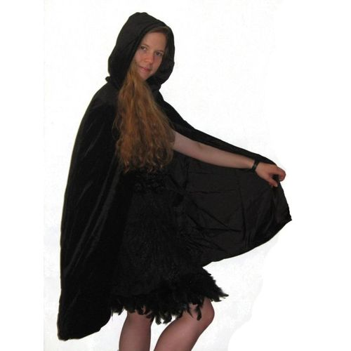 Velvet Hooded Mid Length Cloak Black With Black Lining Fancy Dress and Halloween Costume Accessory