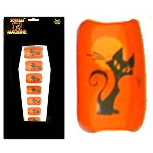 False Nails Orange With Black Cat Design Halloween and Fancy Dress Accessory