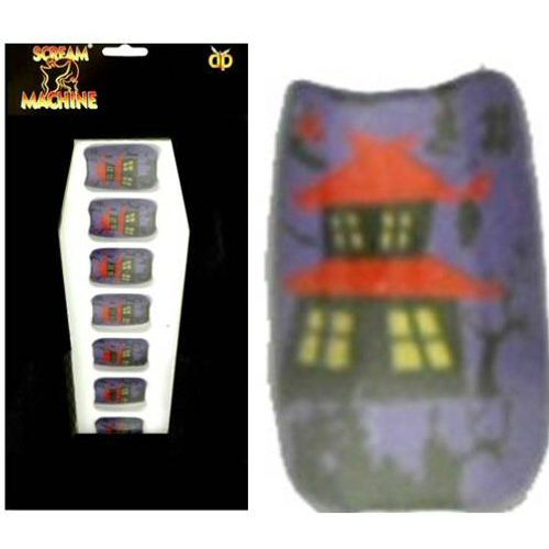 False Nails Purple With Haunted House Design Halloween and Fancy Dress Acessory