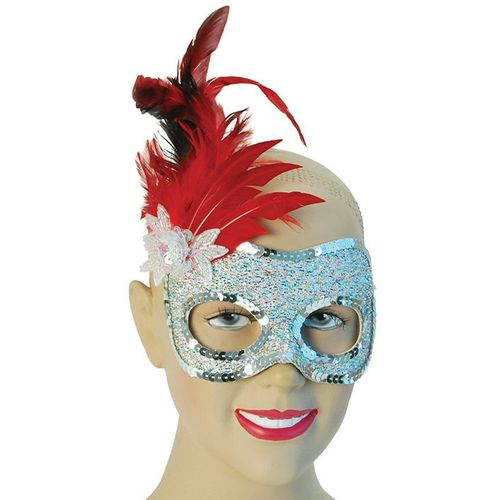 Fancy Dress Adult Sequin Side Feather Silver & Red Masquerade Eye Mask