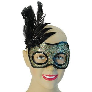 Sequin Side Feather Eye Mask (Multi Glitter Gold & Blac