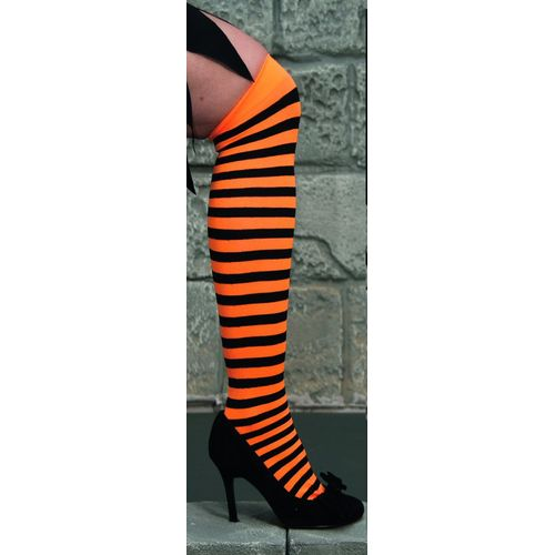 fancy dress and halloween orange and black striped Over The Knee Stockings