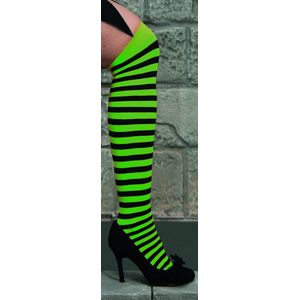 Over The Knee Stockings (Neon Green & Black Striped)