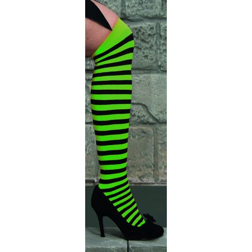 fancy dress and halloween neon green and black striped  Over The Knee Stockings