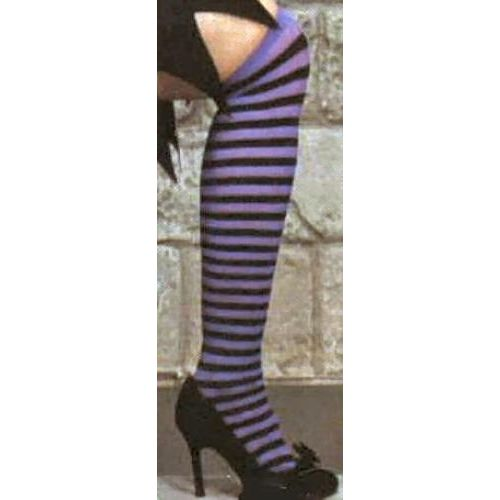 fancy dress and halloween purple and black striped Over The Knee Stockings