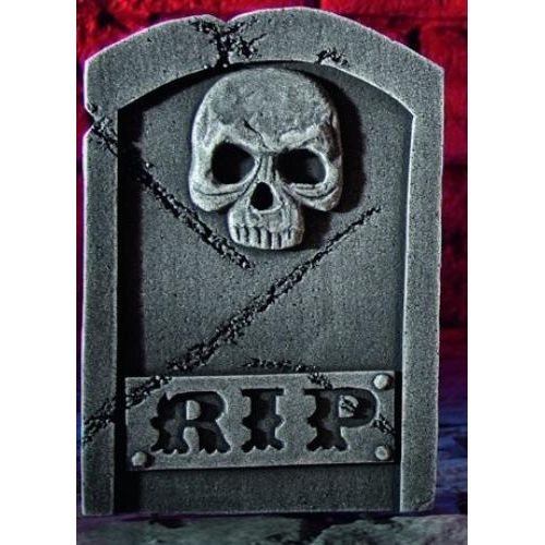 Halloween decoration Tombstone & Stand Skull Design Approx 38cm