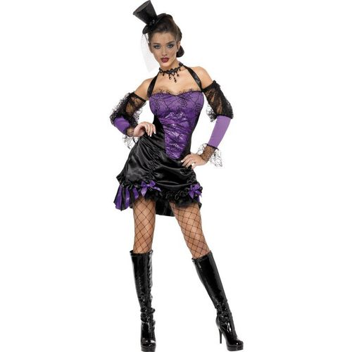 fancy dress and Halloween Sexy Cobweb Can Can Lady Dress & Sleeves Size 8-10