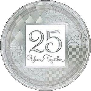 25 Years Together Silver Anniversary Paper Plates 18cm