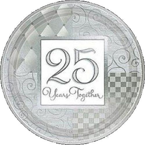 silver anniversary paper plates